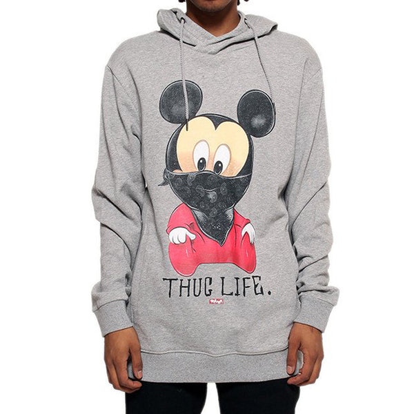 Thug Life III Mickey Mouse Gray French Terry Hoodie - Low Stock