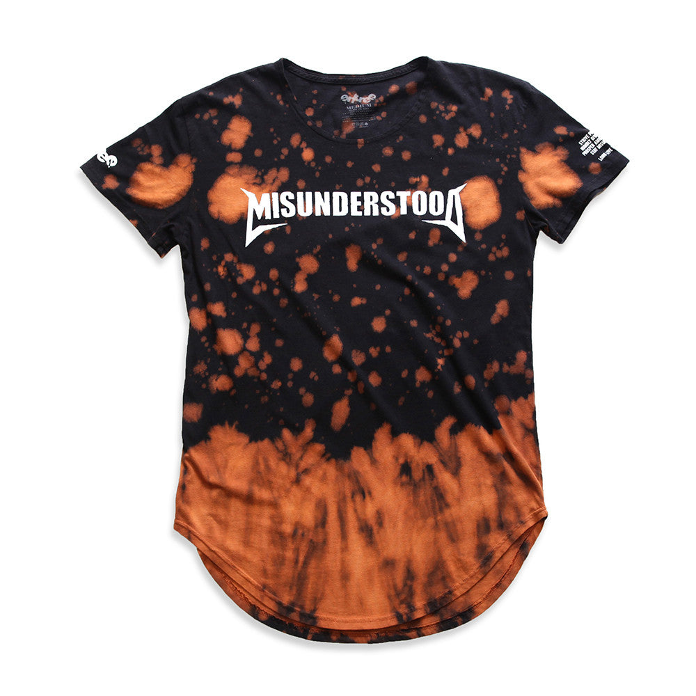 Misunderstood Core Vintage Tie Dye Curved Hem Scallop Orange Tee