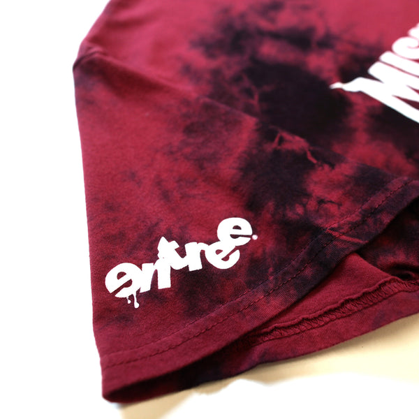 Misunderstood Core Vintage Tie Dye Curved Hem Scallop Red Tee