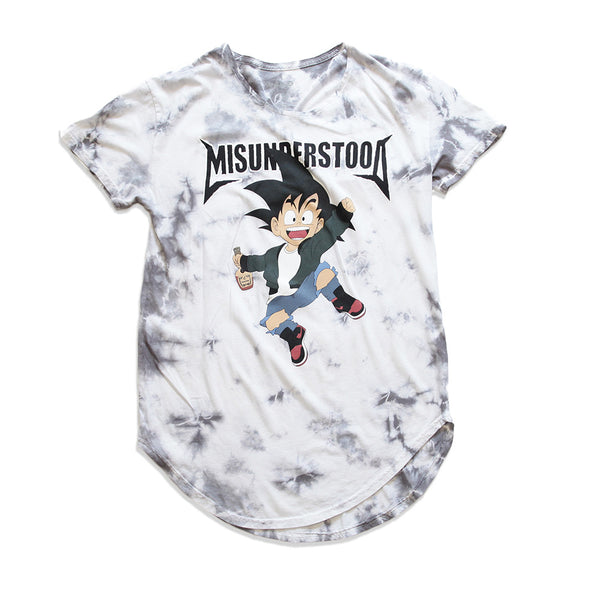 Misunderstood Goku Vintage Dye Curved Hem White Tee - Low Stock
