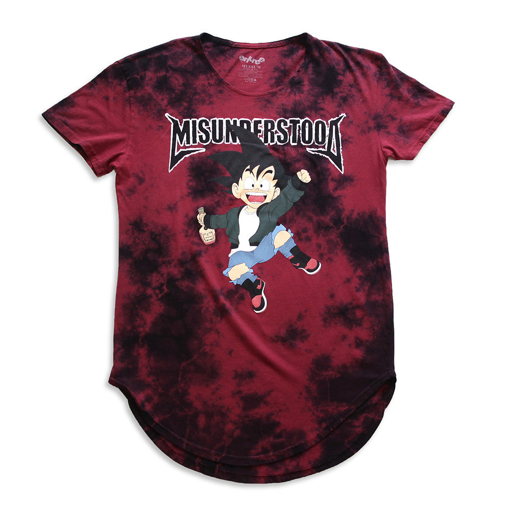 Misunderstood Goku Vintage Tie Dye Curved Hem Red Tee - 1 Left!