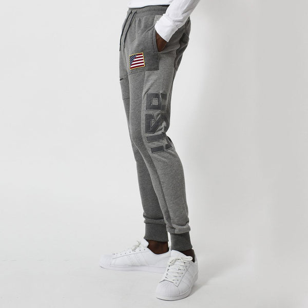 Entree LS Two Tone Gray Paneled French Terry USA Jogger - Low Stock