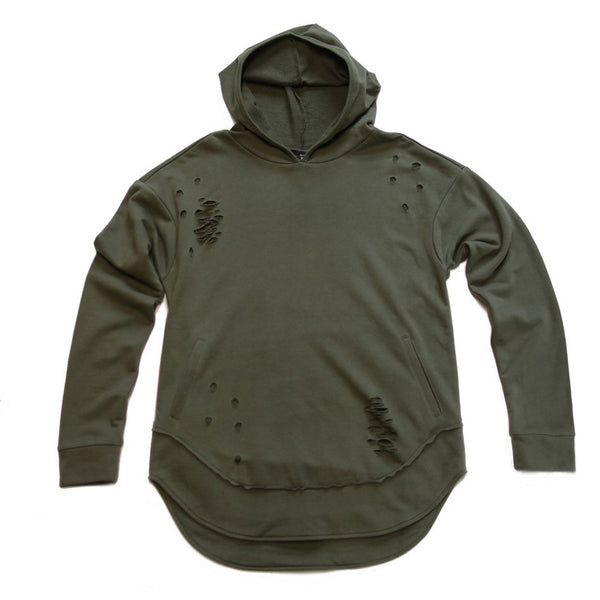 Olive Green Curved Hem Men Distressed Hoodie