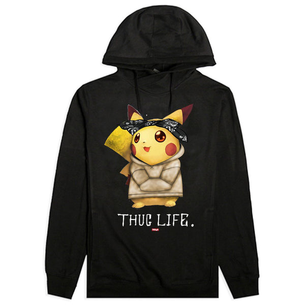 Thug Life IV Pikachu Custom Black French Terry Hoodie
