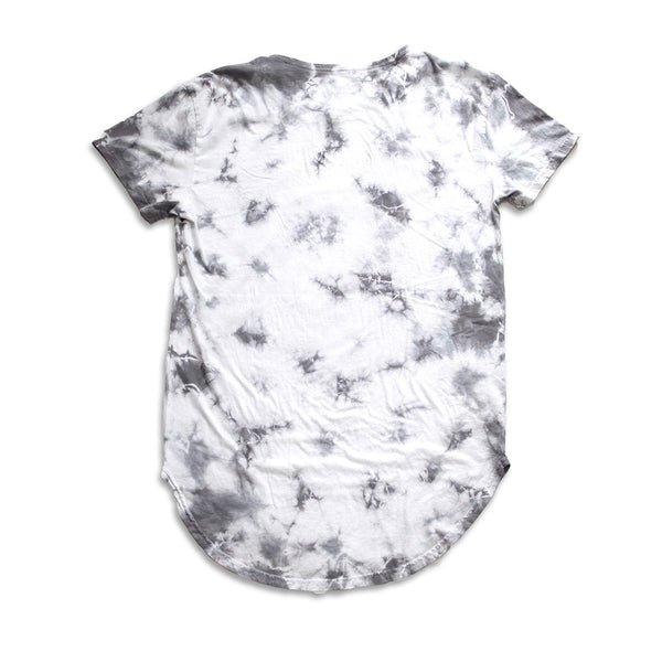 Brave Hearted Vintage Tie Dye Curved Hem Scallop White Tee