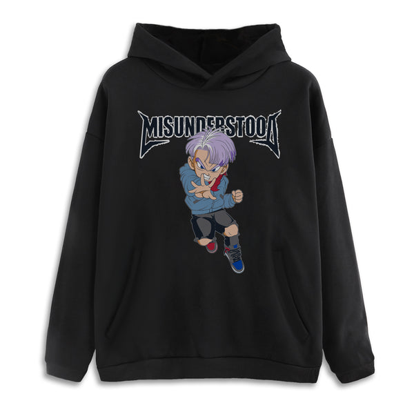 Misunderstood Future Trunks Drop Shoulder Black Pullover Hoodie
