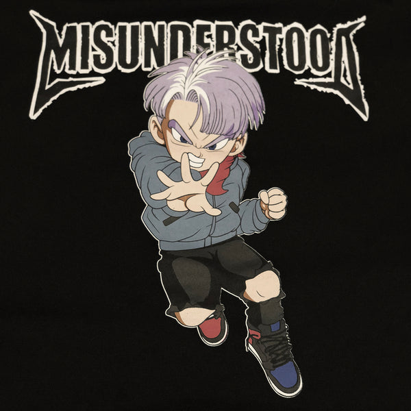 Misunderstood Future Trunks Drop Shoulder Black Pullover Hoodie *Restocked*