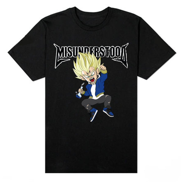 Misunderstood Vegeta Black Tee - Restocked
