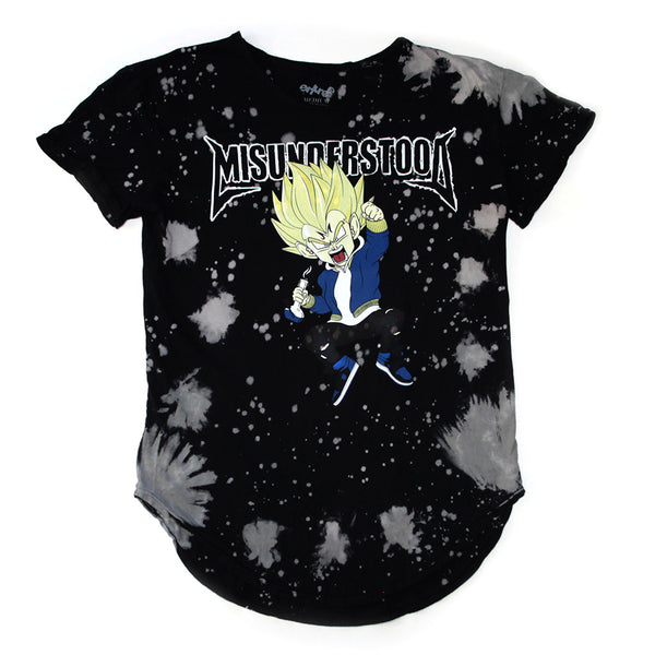 Misunderstood Vegeta Black Vintage Tie Dye Curved Hem Tee - Low Stock