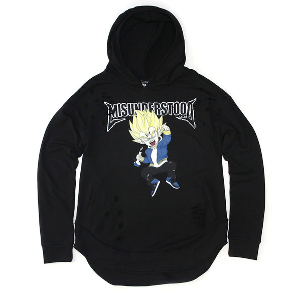 Misunderstood Vegeta Distressed Drop Shoulder Curved Hem Hoodie - No Restock