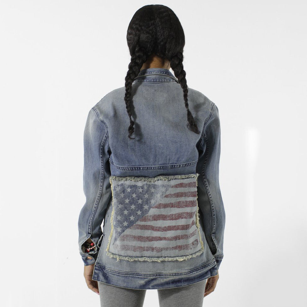 Entree LS Womens Olympic USA Flag Denim Jacket - Low Stock
