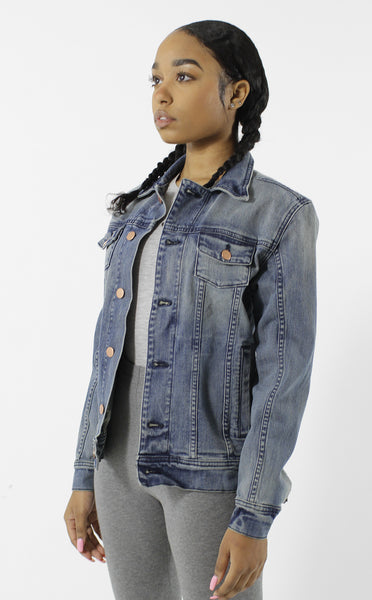 Entree LS Womens Olympic USA Flag Denim Jacket
