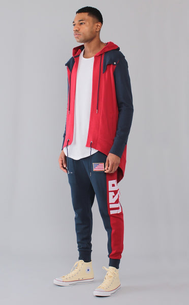 BOTTOMS - MID-WEIGHT FRENCH TERRY OLYMPIC USA NAVY/RED JOGGER
