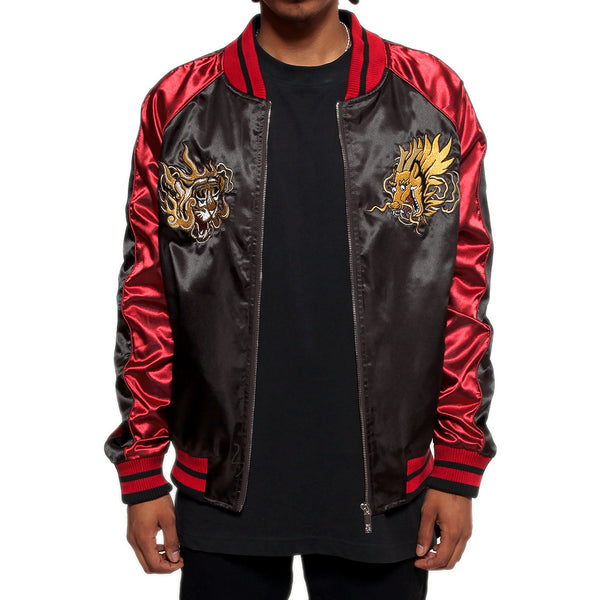Misunderstood Black & Red Satin Embroidery Bomber Souvenir Jacket