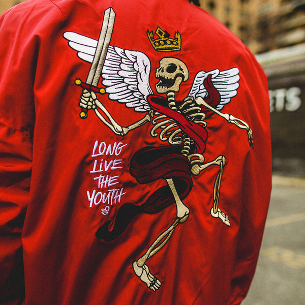 Misunderstood Red Embroidery Bomber Jacket - Low Stock