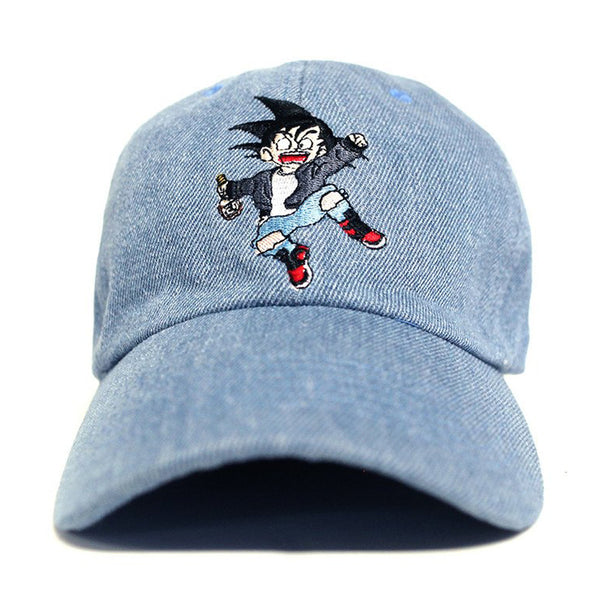 Misunderstood Goku Dad Hat in Denim - Just Restocked