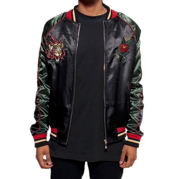 Japanese Tiger Satin Gucci Color Embroidery Souvenir Jacket