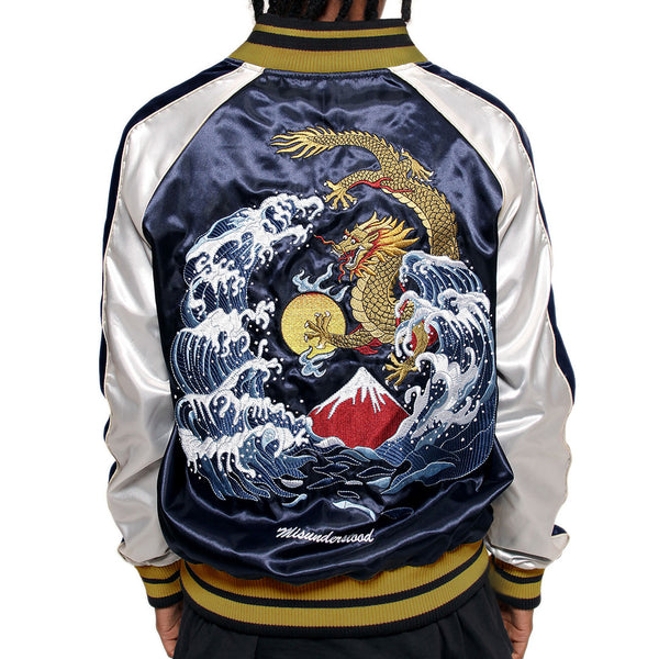 Misunderstood Midnight & Silver Satin Embroidery Bomber Souvenir Jacket - 2 Left!