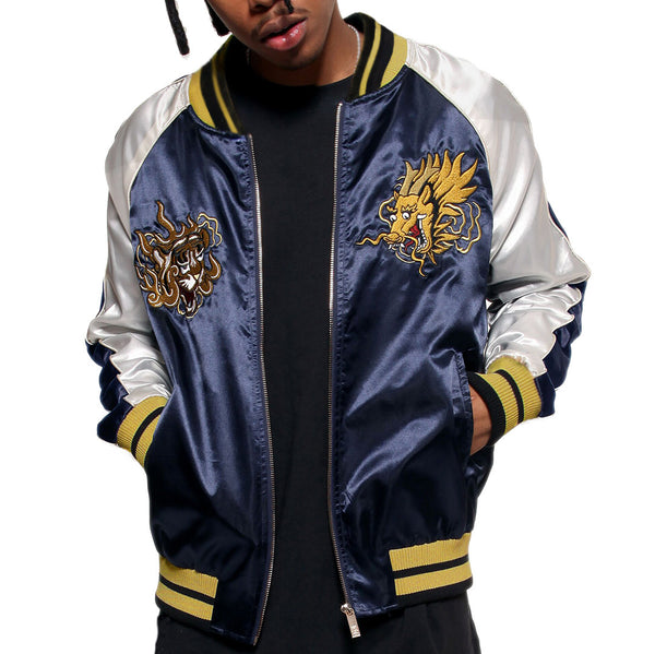 Misunderstood Midnight & Silver Satin Embroidery Bomber Souvenir Jacket