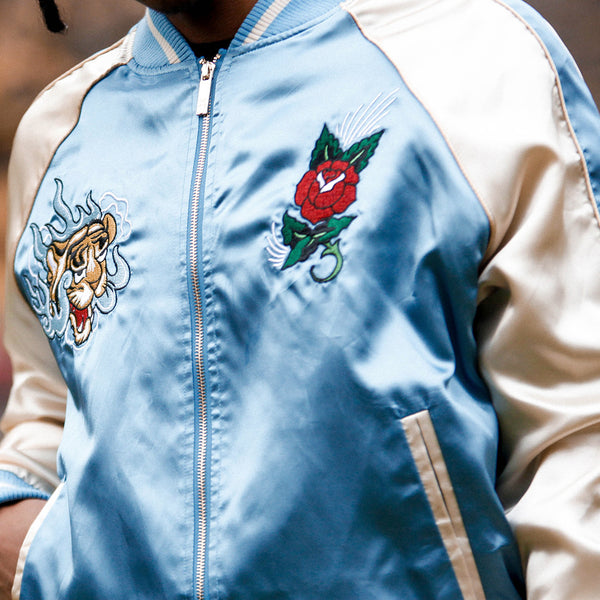 Japanese Tiger Satin Blue & Rose Gold Embroidery Bomber Souvenir Jacket