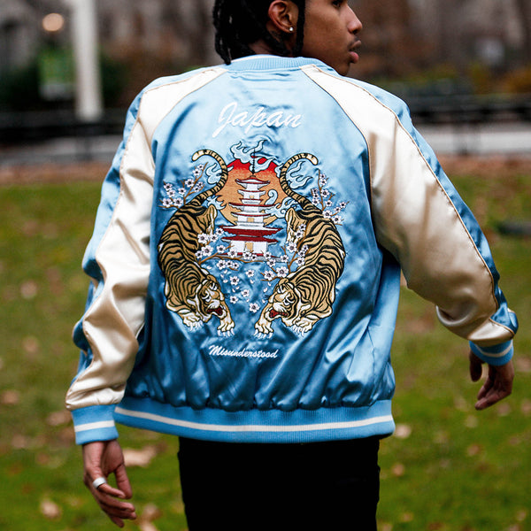 Japanese Tiger Satin Blue & Rose Gold Embroidery Souvenir Jacket