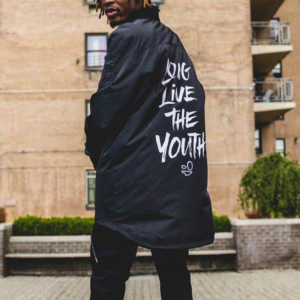 Long Live the Youth Black Long Bomber Jacket