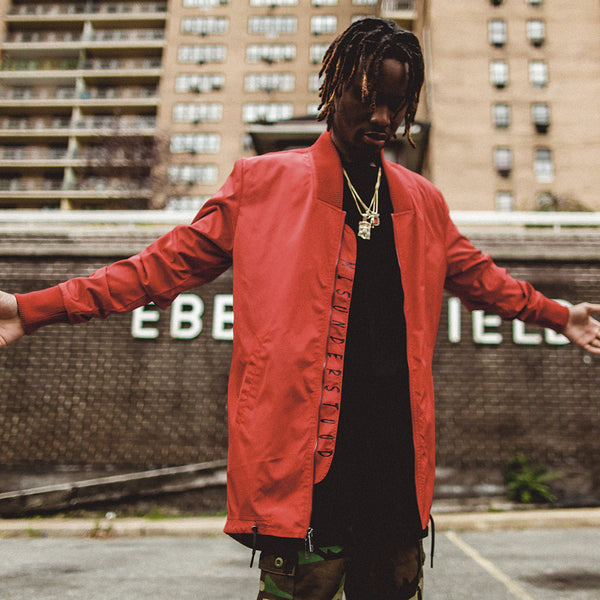 Long Live the Youth Red Long Bomber Jacket
