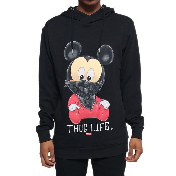 Thug Life III Mickey Mouse Black French Terry Hoodie - 1 Left!