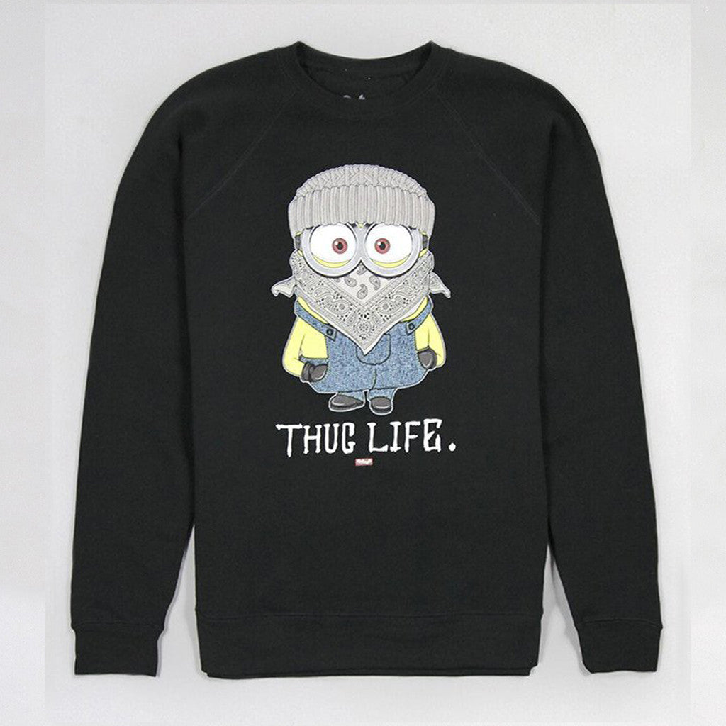 Womens Thug Life Minion Black Sweatshirt