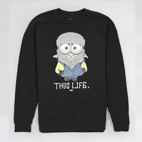 Womens Thug Life Minion Black Sweatshirt - Low Stock