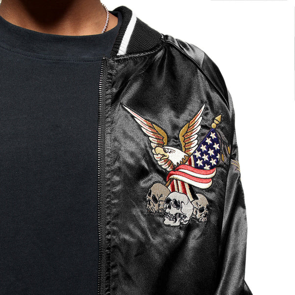 New York Black Satin Embroidery Bomber Souvenir Jacket