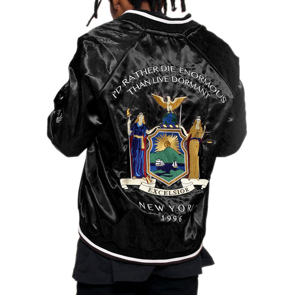 New York Black Satin Embroidery Bomber Souvenir Jacket - 3 Left!