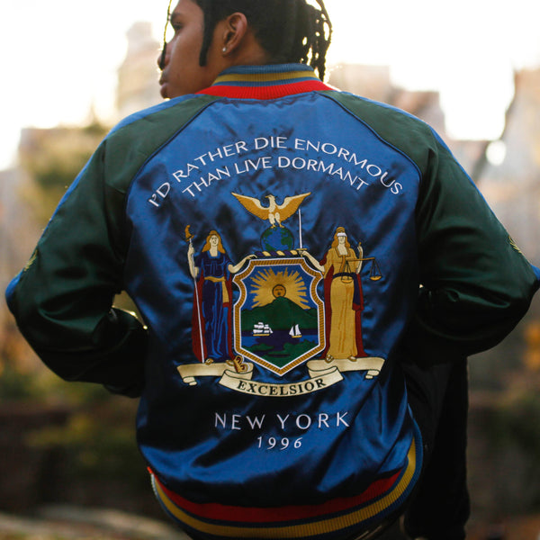 New York Vintage 90's Satin Embroidery Bomber Souvenir Jacket