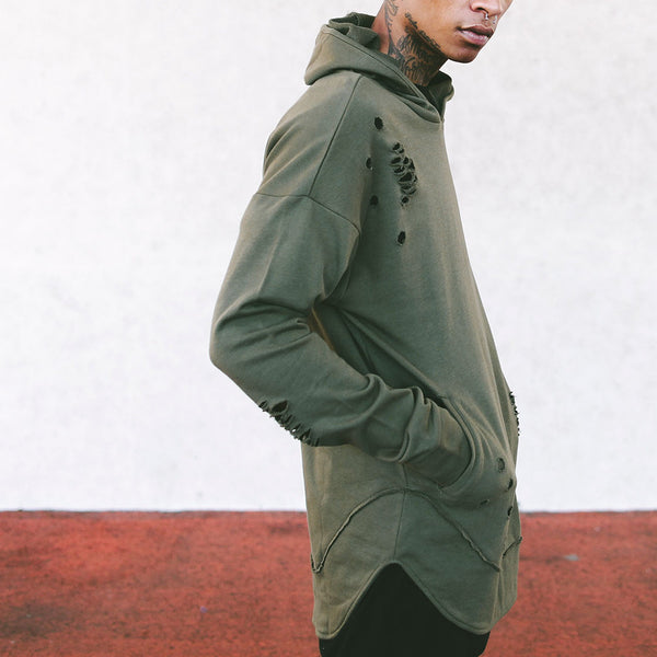 Olive Green Curved Hem Men Distressed Scoop Hoodie - 1 Left!