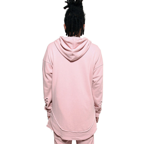Rose Quartz Curved Hem Men Distressed Scoop Hoodie
