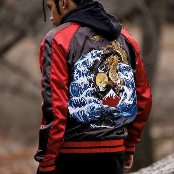 Misunderstood Black & Red Satin Embroidery Bomber Souvenir Jacket - Low Stock