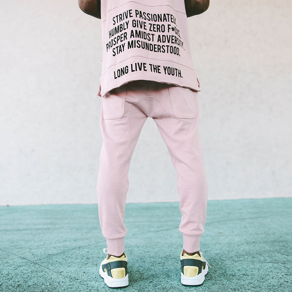 Long Live the Youth Distressed Rose Joggers - Low Stock