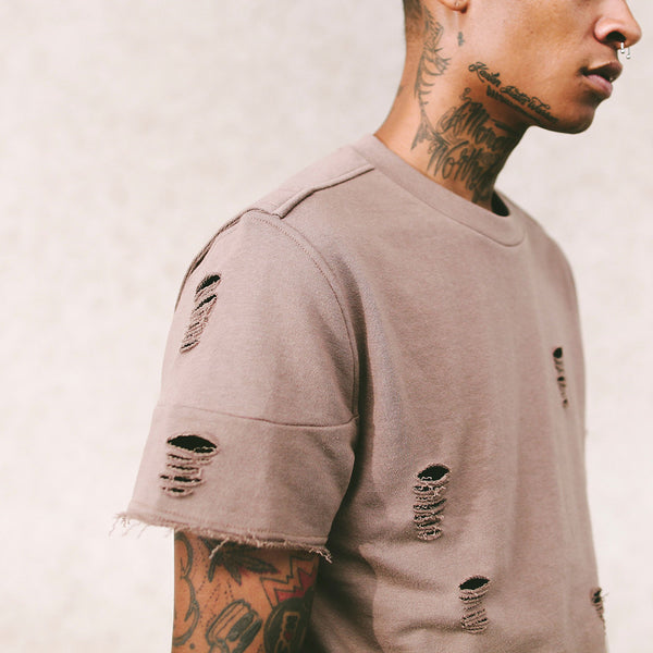 Long Live the Youth Distressed S/S Taupe Sweatshirt - 2 Left!