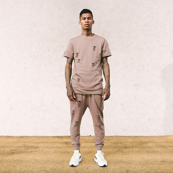 Long Live the Youth Distressed S/S Taupe Sweatshirt