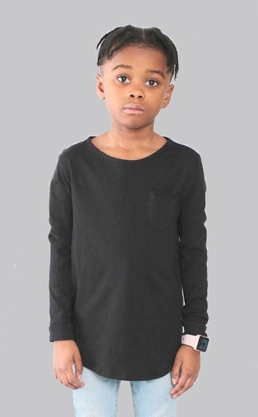 TOPS - Entree Kids Curved Hem Scallop Black Pocket Long Sleeve