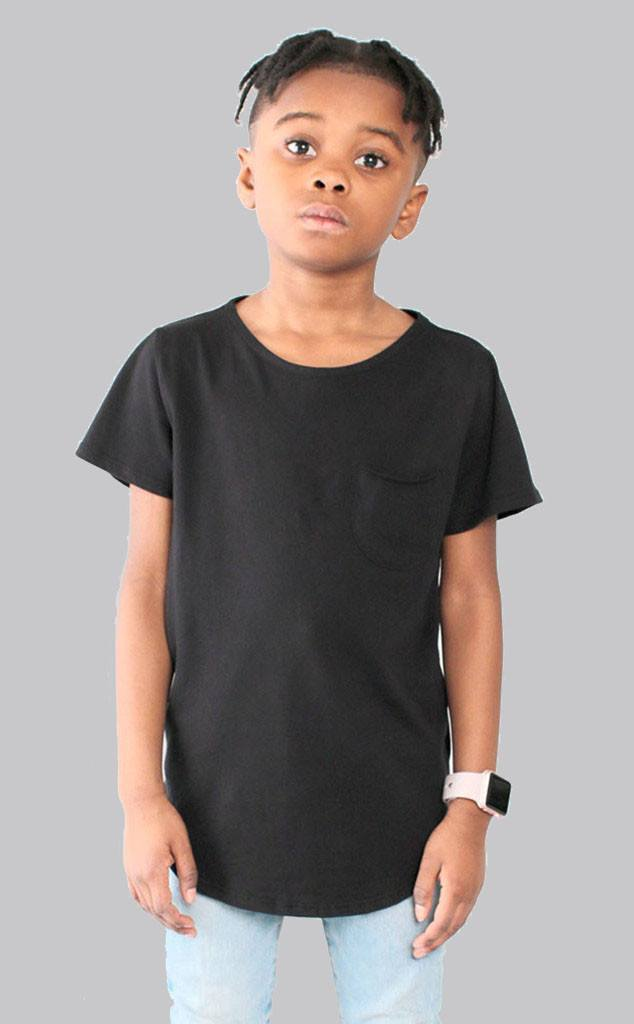 TOPS - Entree Kids Curved Hem Scallop Black Pocket Tee