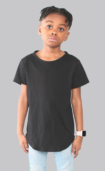 TOPS - Entree Kids Curved Hem Scallop Black Tee