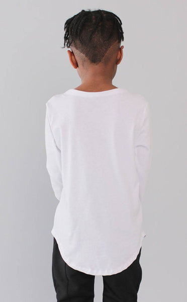 TOPS - Entree Kids Curved Hem Scallop White Pocket Long Sleeve