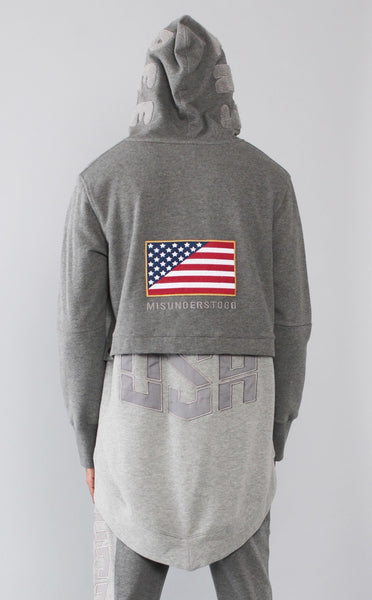 TOPS - MID-WEIGHT FRENCH TERRY OLYMPIC USA  DK GREY/H.GREY HOODIE