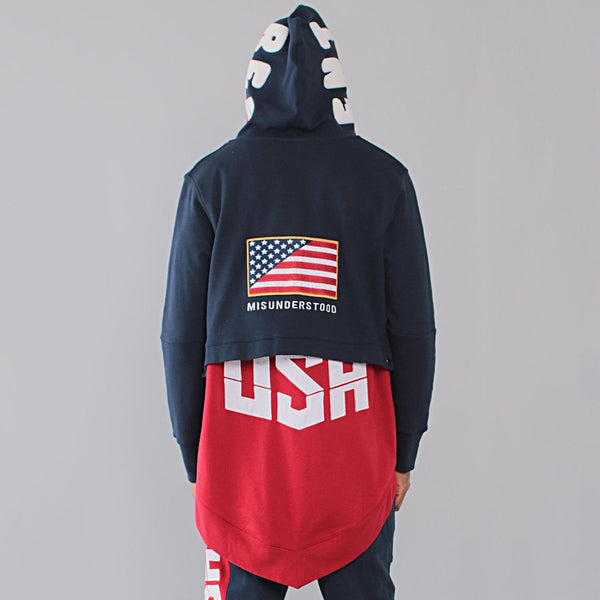 Entree LS Dual Layer Cape Style Navy And Red USA Hoodie - Low Stock