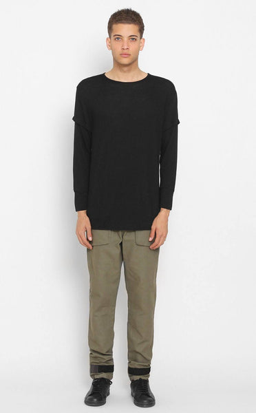 TOPS - UNKNOWN Black Elongated Long Sleeve