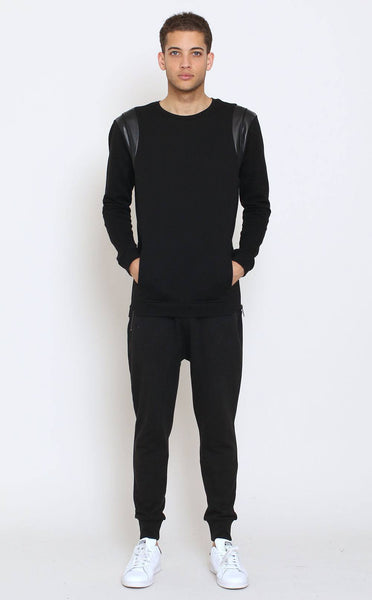 TOPS - Unknown Black French Terry Crewneck With Leather Decor