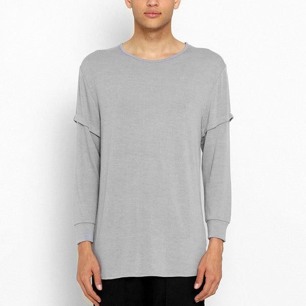 Unknown Gray Elongated Long Sleeve T-Shirt