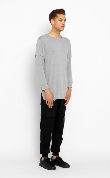 TOPS - UNKNOWN Gray Elongated Long Sleeve