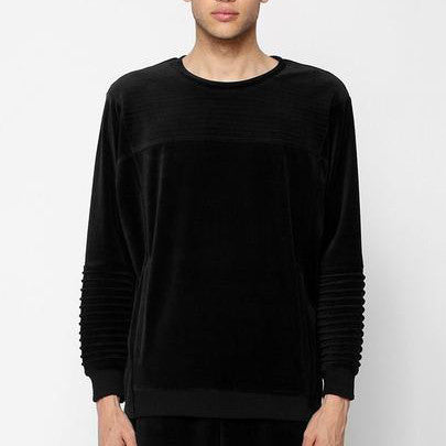 Unknown Harbinger Oversized Black Velour Sweatshirt